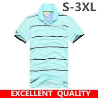 Wholesale Business Clothes Summer - Men Polo Shirt 2017 Summer Men Business Crocodile Embroidery Casual Breathable White Striped Short Sleeve Polo Shirt 100% Cotton Clothes