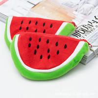Wholesale Velour Card - Big Volume Watermelon School Kids Pen Pencil Bag Case Popular Coin Purses Plush Red Watermelon Coin Bags Fruit Wallet Beauty Holder Handbag