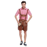 Wholesale Maid Clothing - Adult Men Beer Strap Clothing Genuine Leather National Stage Performance Clothing Costumes Oktoberfest Beer Maid Waiter Costume Beer Man