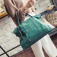 Wholesale Durable Messenger Bag - Wholesale- Durable Fashion PU Leather women bag Large Capacity Women Rivet Crossbody Tassel Bag Frosted Messenger Bag
