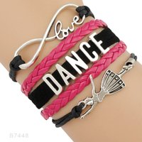 (10 peças / lote) Infinity Love Dance Dancer Charm Leather Wrap Braceletes para mulheres Men Girls Custom Jewelry Algum tema Drop Shipping