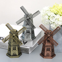 Wholesale Rustic Antique Decor - Windmill Decor Metal Model 3D Metal Rustic Decor New Styles Chinese Earth DIY Creative Gifts Rustic Decor Cube Baby Toys