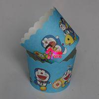 Wholesale Doraemon Birthday - Wholesale- 50pcs bag Children Birthday Party Pokonyan design Cartoon Doraemon paper cake cup