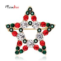 Wholesale Chrismas Pins - Wholesale- Hollow Christmas Gift Simple Star Crystal Rhinestone Chrismas Brooches Pins for Women Fashion Jewelry Gifts for the New Year