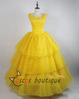 Wholesale Yellow Princess Dress Costume - 2017 Newest movie Beauty and the Beast belle dress women princess Belle costume cosplay yellow party dress ball gown