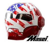 Wholesale MASEI IRONMAN Motorcycle Skull Open Face Helmet Color usa flag Casco Capacete Flip Up Motorcycle Helmet DOT approved motorbike automic man