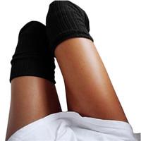 örme çizme çorapları toptan satış-Toptan-2016 Moda Stocking Kadınlar Kış Örme Aşırı diz Uzun Boot Uyluk-Yüksek Sıcak Kadın Lady Sıcak Çorap Katı Kız Mujer N7