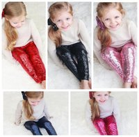 Wholesale Bling Tights - Kids Sequins Leggings Glitter Pants Glow Girls Trousers Fashion Boutique Long Tights Girls Bling Dance Legging Trousers 8 color KKA2142