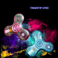Wholesale Led Crystal Mini Music - Crystal transparent LED MINI Bluetooth Speaker Music Fidget Spinner EDC Crystal Hand Spinner For Autism And Kids Adult Funny Fidget Toy