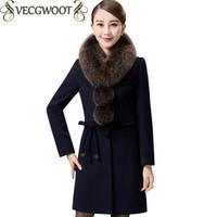 Wholesale thin fur vest - 2017 Winter New Women Woolen Coat Female Winter Jacket Women Long Fur collar Solid color Woolen Coat Women Plus size Coat X672