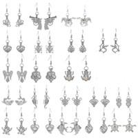 Wholesale Locking Earrings - Silver Love Wish Shark Horse Angel Cage Pendant Dangle Earrings Lock In Oyster Pearls Fine Locket Eardrop Jewelry For Women