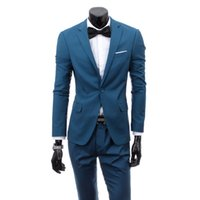 Wholesale Korean Suits For Sale - Wholesale- 9 colors hot sale terno masculino freeshipping new mens business casual suit Korean slim fit wedding suits for men two piece set