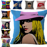 Wholesale Hospital Fashion - Oil Painting American Fashion Pillow Case Cushion cover Linen Cotton Throw Pillowcases sofa Bed Pillow covers DROP SHIPPING
