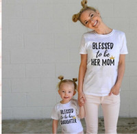 Wholesale Blessed to me Family Matching Outfits mother daughter dresses mother father baby Letter T Shirts Short European and American style