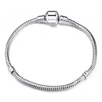 Wholesale Barrel Plating - 3mm 17-21cm 925 Silver Plated Bracelet Chain Snake Chain with Barrel Clasp Fit European Beads Bracelets With Without Logo DIY