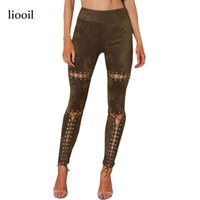 Wholesale leggings rivets - Black Sexy Lace Up Suede Leggings Summer Long Pants High Waist Hollow Out Rivet Vintage Leggings Fitness Workout Jeggings 17411