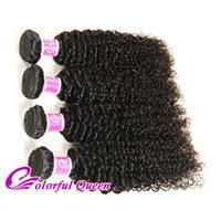 Wholesale Micro Braids Hair Extensions - Colorful Queen Brazilian Virgin Hair 4 Bundles Deals Afro Kinky Curly Weave Human Virgin Hair Extensions Micro Braiding 400g Brazilian Hair