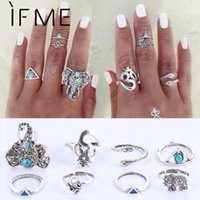 Wholesale Knuckle Bands - 8PCS Set Fashion Vintage Bohemian Midi Brand Ring Set Steampunk Elephant Anillos Ring Knuckle Rings for Women Anel Ring 2016