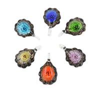 Wholesale Blow Glass Necklace Pendants - Hot Sale Flat Round Lampwork Glass Pendants Focal Blown Glass Flower Bead Necklace Pendants 12pcs box, MC0035