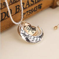 Wholesale Titanium Gold Quartz Pendant - High Quality Heart Jewelry I love you to the Moon and Back Mom Pendant Necklace Mother Day Gift Wholesale Fashion Jewelry ZJ-0903221