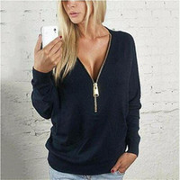 Wholesale Long Tops For Womens - Designer Women T Shirt Long Sleeve V Neck Zipper Deep Solid Womens Top Sexy Casual Winter Shirts For Women Clothing