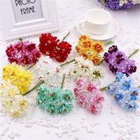 Wholesale Artificial Mini Silk Flowers - Wholesale-cheap 6pcs lot Mini Silk Artificial Rose Flowers Bouquet Multicolor Scrapbooking Flower Leaves Stamen Wedding Box Decoration