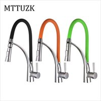 Wholesale Tap Nozzles - Wholesale- Free Shipping single handle kitchen mixer tap.deck mounted black kitchen faucet.Dual Sprayer Nozzle Hot Cold Mixer Water Taps