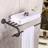 Wholesale Paper Bath - Luxury Antique Copper Bath Hardware Dual Towel Hanger Set Rack Bar Paper Holder Shelf Hook Bathroom Products