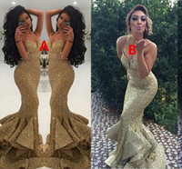 Wholesale Open Back Bling - New Designer Bling Gold Sequins Mermaid Prom Dresses 2016 Spaghetti Open Back Ruffles Sweep Train Evening Gowns Pageant Dress Formal