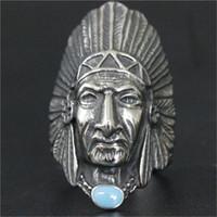 diseños de joyas de estilo indio al por mayor-3 unids / lote Nuevo Diseño Amerian Indian Cool Ring 316L Joyería de Moda de Acero Inoxidable Band Partido Biker Estilo Azul Anillo de Piedra