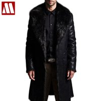 Wholesale Reversible Trench Coat - Plus Size Reversible Jacket Men Faux Fur Mid-long Autumn Jackets Winter Coat For Male Trench Overcoat Casaco Jaqueta Masculino