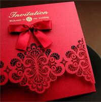 sobres de boda para imprimir gratis al por mayor-2017 barato China Hollow invitación de la boda de China festiva invitaciones de boda europea invitación de la boda hermosa Mordern una tapa de elevación