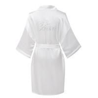 Wholesale White Satin Robe Wholesale - Wholesale- 2017 Satin Party Wedding Bride Bridesmaid Robe with Rhinestones Women Pure Short Sleepwear Kimono Robes Woman Bathrobes Pajamas