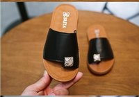 Wholesale Diamond Baby - rmq-Summer New Children Slipper fashion girls baby diamond solid color beach shoes Kids leisure sandals