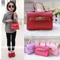 Wholesale Handbag Tote Korea - New Fashion Designer Handbags Baby Girls Bag PU tote bag Children Mini Bags Candy Color Korea Kids Messenger Bag 6 Colors 17*12*6cm A5826