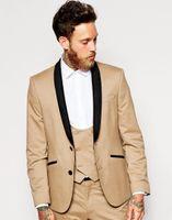 Wholesale Mens Tan Vests - Wholesale- 2017 Khaki Tan Groom Tuxedos Italian Style Black Lapel Mens Wedding Prom Dinner Suits 3 Piece Groomsman Wear(Jacket+Pants+Vest)
