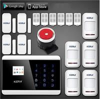 kablosuz otomatik arama alarm sistemi toptan satış-LS111-Quad 4 Band ios android APP kontrolü LCD Akıllı Dokunmatik Tuş Takımı Kablosuz / kablolu GSM PSTN evi Güvenlik Sesli Alarm Sistemi Otomatik Arama
