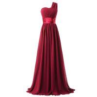 dantel mercan plaj elbisesi toptan satış-Bir Omuz Pilili Şifon Nedime Elbisesi Plaj Uzun Bordo Mor Kraliyet Mavi Mercan Düğün Parti Elbise Lace Up
