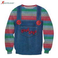 Wholesale Denim Hoodie Women - Wholesale-Sportlover Women men cute stripe sweatshirts harajuku Denim strap style Jumper good guys chucky 3d sweatshirt pullovers hoodies