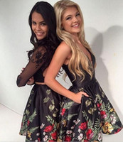 Wholesale Yellow Girls Party Dress Pattern - 2017 Black Lace Floral Print Girls 2017 Homecoming Dresses Two Piece Long Sleeve Open Back Short Party Dress Cocktail