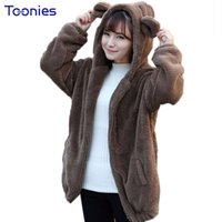 Wholesale Korean Hoodie Ears - Wholesale- Cute Fluffy Bear Ear Hooded Girl Hoodies Sweatshirts Women Solid Korean Fashion Hoodie Spring Fall Winter Long Sleeve Hoody Tops