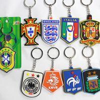 Wholesale England Souvenir - 10pcs lot Wholesale Fans Souvenir PVC Soccer Keychain World Cup National Teams England France Brazil Spain Italy Germany Football Keychains