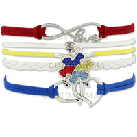 blue awareness ribbons - Custom Hot Infinity Love Autism Awareness Ribbon Bracelet Puzzle Piece Heart to Heart Charm Red Blue Yellow Suede Leather