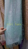 Wholesale Mint Colored Dresses - HLS0044 mint green red sparkle print glued glitter powder tulle mesh lace fabric for sawing  evening dress stage
