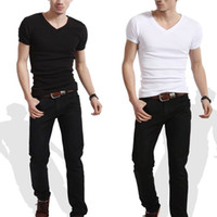 Wholesale Wholesale Long Mens Shorts - Wholesale- Slim Fit Personalized V Neck or crew neck T-Shirts mens t shirt 2016 brand new white tshirt short-sleeve blank tees men clothi