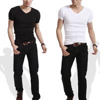 Wholesale Wholesale Mens Casual Shirt - Wholesale- Slim Fit Personalized V Neck or crew neck T-Shirts mens t shirt 2016 brand new white tshirt short-sleeve blank tees men clothi