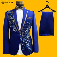 Wholesale Tuxedo Prom Single Button - Wholesale- Wedding Groom Tuxedos Suit Men Fashion Blue Paillette Embroidered Male Singer Performance Party Prom Blazer Suit Costume 4 Piece