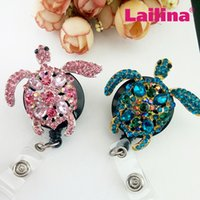 Wholesale Rhinestone Reel - 10pcs lot Multi Color Turtle Rhinestone Retractable Badge Reel  Mix ID Badge Holder for Nurse medical symbol badge