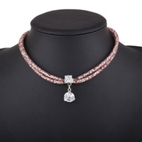 Wholesale Lady Multi Crystal Necklace - hot sale high quality Fashion jewelry Vintage designer lady woman metal alloy multi layer rope diamond crystal choker necklace