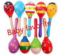 Wholesale Wholesale Baby Instruments - Hot Baby Wooden Toy Rattle Baby cute Sand Hammer toys Orff musical instruments Educational Toys JC27